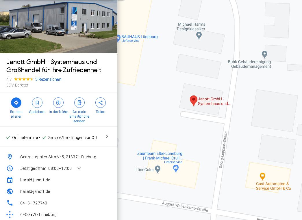 Standort des EDV- Systemhauses Janott GmbH Lüneburg